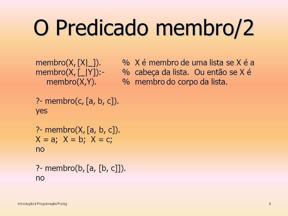 O Predicado membro/2 membro(X, [X|_]). % X é membro de uma lista se X é a. membro(X, [_|Y]):- % cabeça da lista. Ou então se X é.
